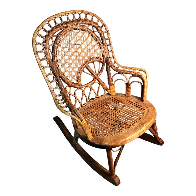 Late 19th Century C1860 Victorian Childs Rocking Chair Wicker Rattan Rocker Attrib. To Heywood Wakefield For Sale