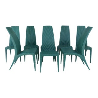 Woven Leather Dining Chairs - Set of 8 For Sale