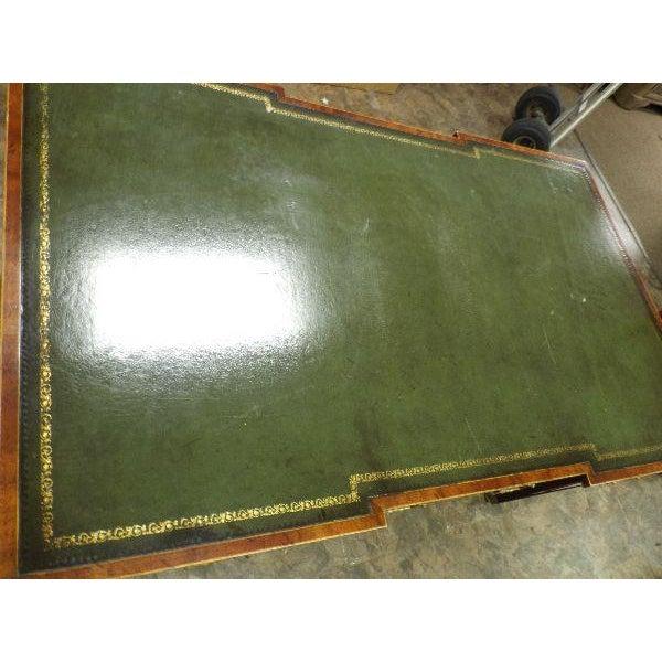 Rare Vintage Original Leather Top Partner / Writing Desk For Sale - Image 4 of 6