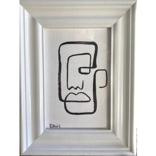 """Man in the Mirror"" Contemporary Minimalist Face Drawing by Carrie Davis, Framed For Sale"