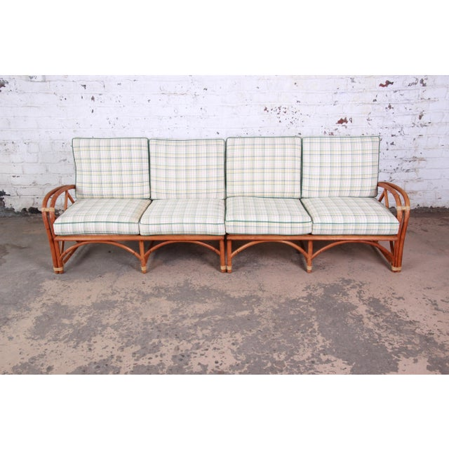 A nice and unique mid-century modern Hollywood Regency style sofa from the Ashcraft line by Heywood-Wakefield. The sofa...