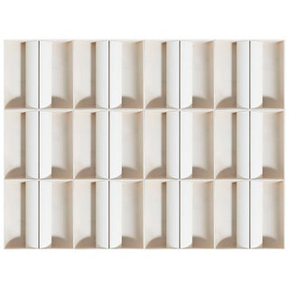 Architectural Set of 12 White Metal Wall-Lights, Ceiling-Lights, France, 1970s For Sale