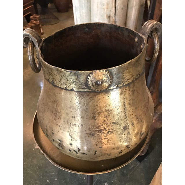 Antique Hand Hammered Brass Pot - Image 2 of 2
