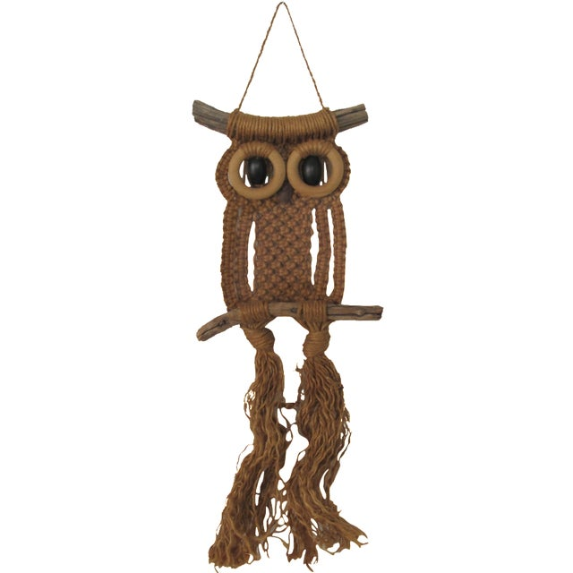 1970s Macrame Owl Wall Hanging - Image 1 of 5