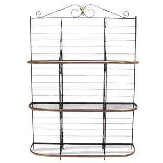 Metal Scrolls Brass Trim Design Large Extra Wide Baker's Rack For Sale
