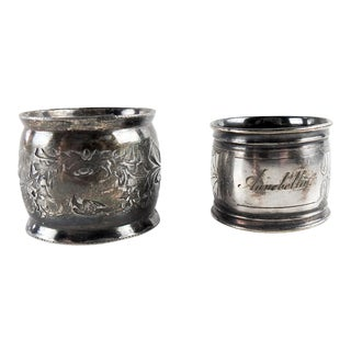 Antique Mismatched Silverplate Napkin Rings - a Pair For Sale
