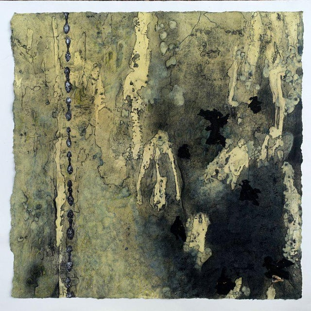 "Abstract Niederhausen Mixed Media on Paper ""Spectral"" Contemporary Black and Yellow Abstract For Sale - Image 3 of 4"