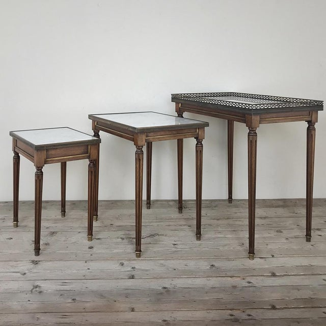 Gold Set of Antique Directoire Marble Top Nesting Tables For Sale - Image 8 of 13