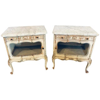 A Distressed Pair of Louis XV Style Marble Top End Tables Bed/Night Side Stand For Sale