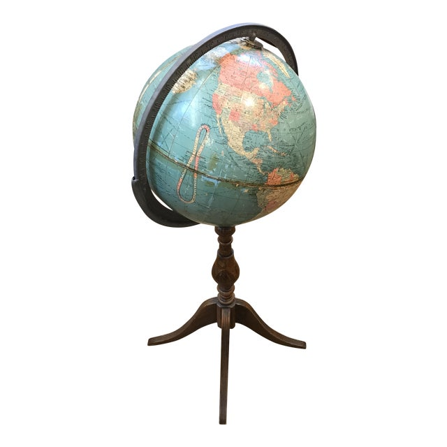 Vintage Globe on Wooden Pedestal - Image 1 of 5