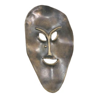 Solid Cast Bronze Contemporary Stylized Mask by Joe Sutcliffe For Sale