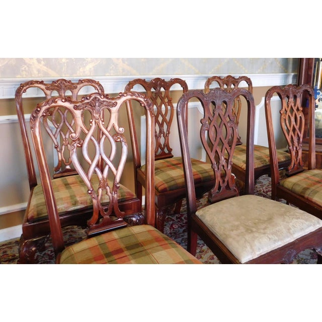 1990s Reproduction Solid Mahogany Chippendale Style Dining Chairs - Set of 10 For Sale - Image 9 of 11