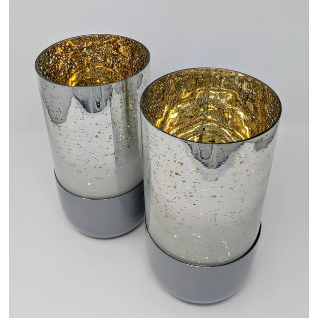 Mercury Glass Candle Holders - A Pair For Sale - Image 11 of 11