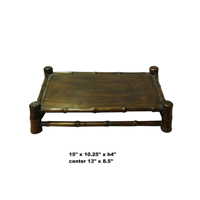Brown Chinese Brown Wood Carved Rectangular Table Top Stand Display Easel For Sale - Image 8 of 8
