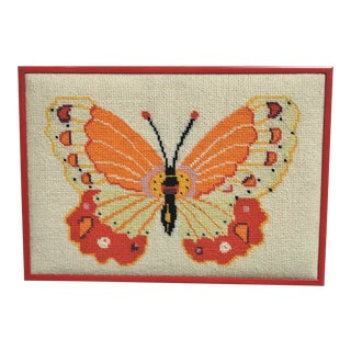 Vintage 1970's Wool Needlepoint Panel of a Monarch Butterfly For Sale