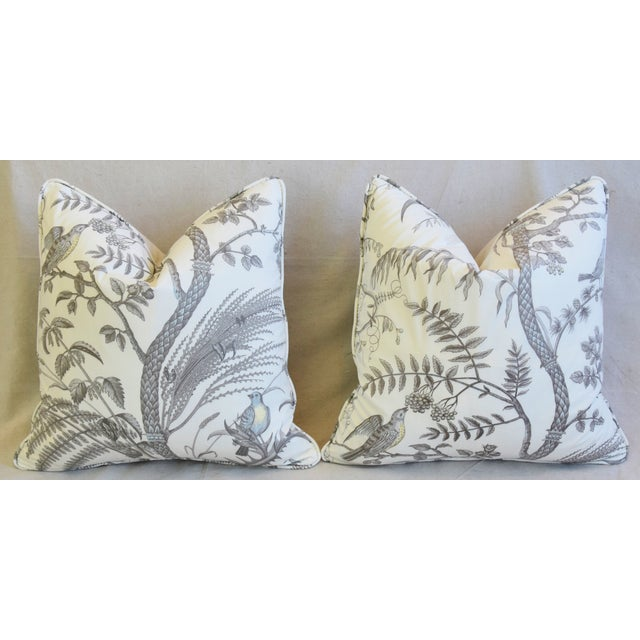 """Turquoise Brunschwig & Fils Bird and Thistle Feather/Down Pillows 21"""" Square - Pair For Sale - Image 8 of 13"""
