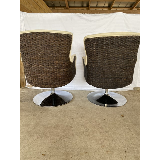 Fabulous MCM style Palecek seagrass chairs with chrome bases that swivel. These need to be upholstered as they have...