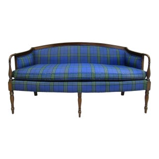 Mid-Century Custom Plaid Mason-Art Ny Sheraton Mahogany Sofa For Sale
