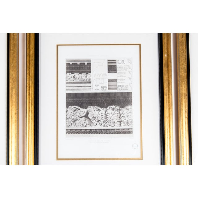 Wood Mid-20th Century Architectural Lithograph With Giltwood Frame - Set of 3 For Sale - Image 7 of 13