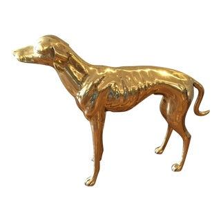 Vintage Polished Brass Greyhound For Sale