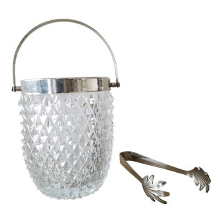 English Diamond Point Glass Ice Bucket & Tongs For Sale