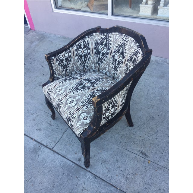 Newly upholstered distressed wood side chair.