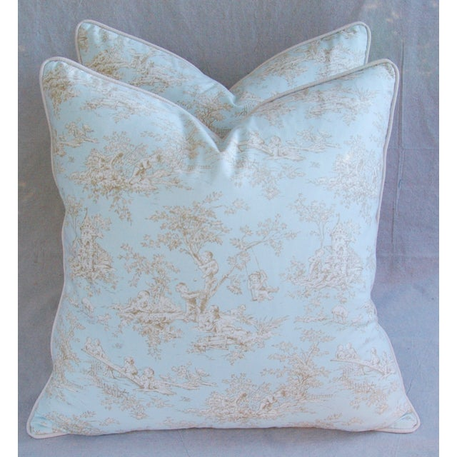 Designer French Blue & White Toile Pillows - Pair - Image 2 of 8