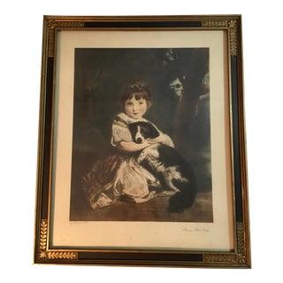 Antique Framed Print of Girl With Dog