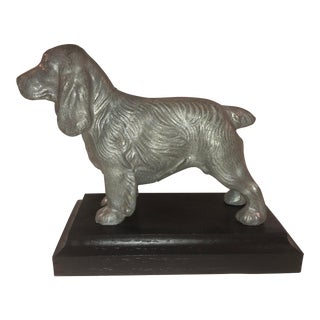Mid 20th Century English Spaniel on Carved Wood Base For Sale