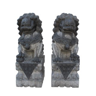 Chinese Pair Black Gray Stone Fengshui Foo Dog Statues For Sale