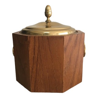 Mid-Century Modern Octagonal Wood and Brass Ice Bucket With Handles For Sale