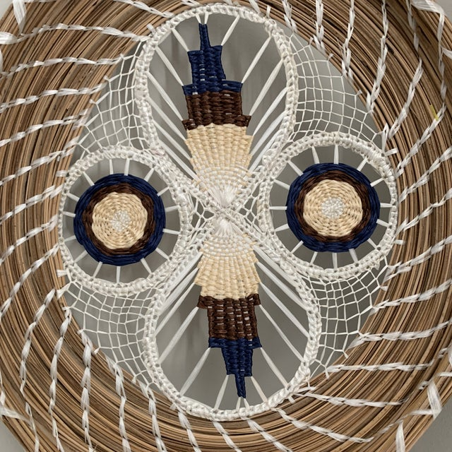 Stunning spun basket art with intricate hand-made, geometric design in dark cerulean, natural, cream and white. This Mid-...