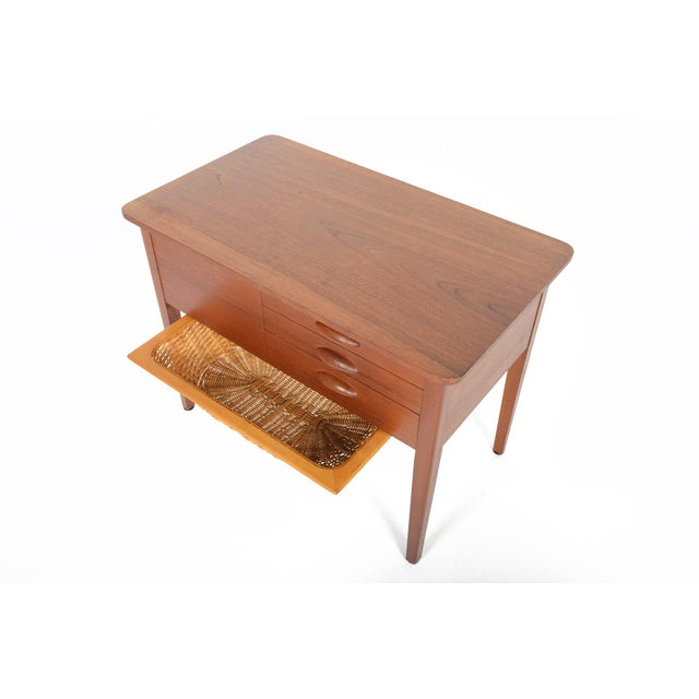 Brown Danish Modern Teak Sewing Box With Basket For Sale - Image 8 of 10
