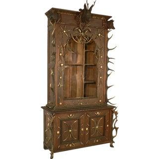 1870 Outstanding Antler Gun Cabinet Bohemia For Sale