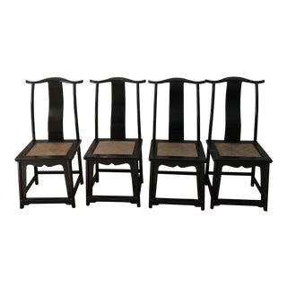 Antique Chinese Black Lacquer Yoke Chairs - Set of 4