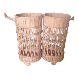 Vintage Wicker Double Wine Baskets - a Pair
