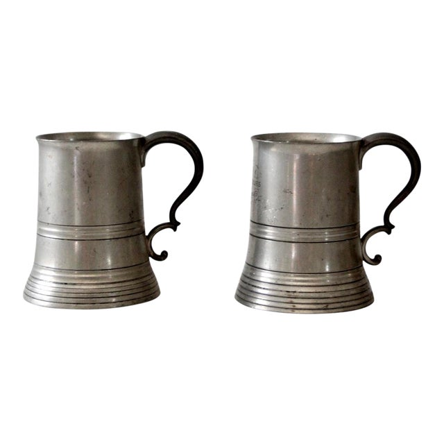 Antique Pewter Glass Bottom Tankards - a Pair For Sale