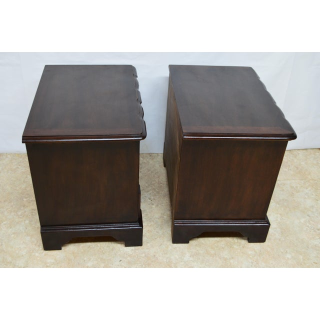 Wood Henredon Solid Mahogany Chippendale Nightstands-a Pair For Sale - Image 7 of 13