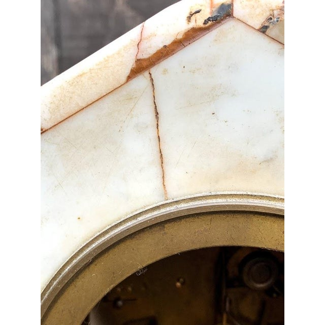 French Art Deco Marble Mantle Clock For Sale - Image 10 of 12