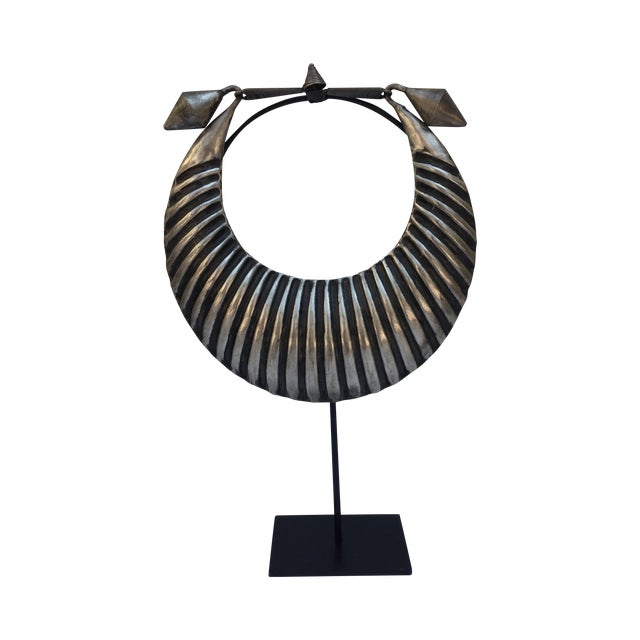 Vintage Tribal Silver Metal Necklace on Stand - Image 1 of 7