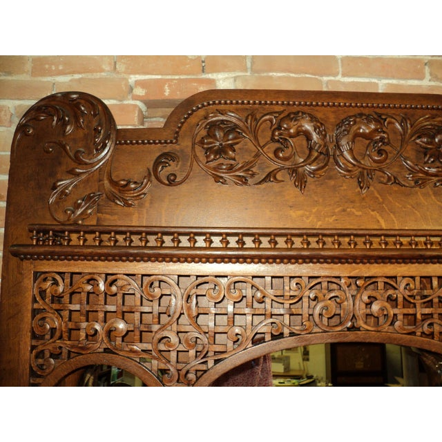 Traditional Late 19th Century Highly Carved Oak Fireplace Mantel For Sale - Image 3 of 12