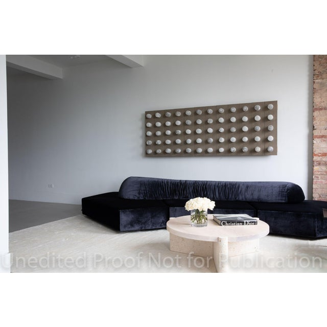 2010s Modern Limestone and Wood Coffee Table For Sale - Image 5 of 7