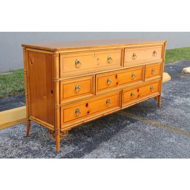Mid-Century Faux Bamboo Dresser by Baker - Image 4 of 11