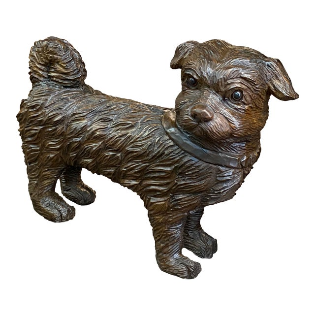 19th Century French Carved Dog With Glass Eyes For Sale