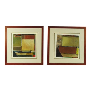 Contemporary Abstract Paintings - a Pair, Framed For Sale