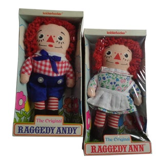 Knickerbocker Original Raggedy Ann and Andy Dolls - a Pair