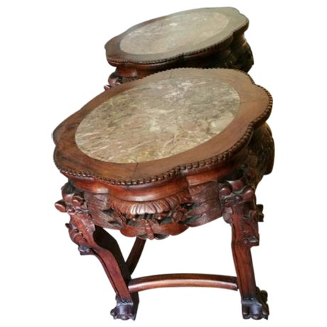 Wood & Marble Hand-carved End Tables - Pair - Image 1 of 6