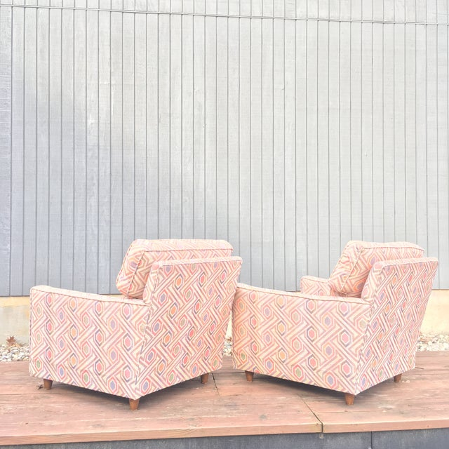 Traditional Vintage Mid Century Modern Club Lounge Chairs- A Pair For Sale - Image 3 of 12
