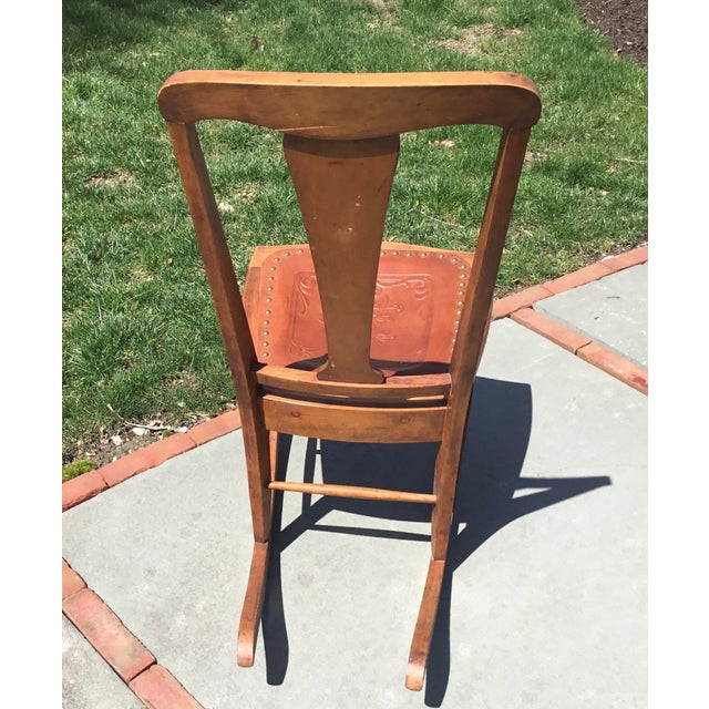 Rocking Chair With Leather and Nailhead Trim Seat For Sale In New York - Image 6 of 9