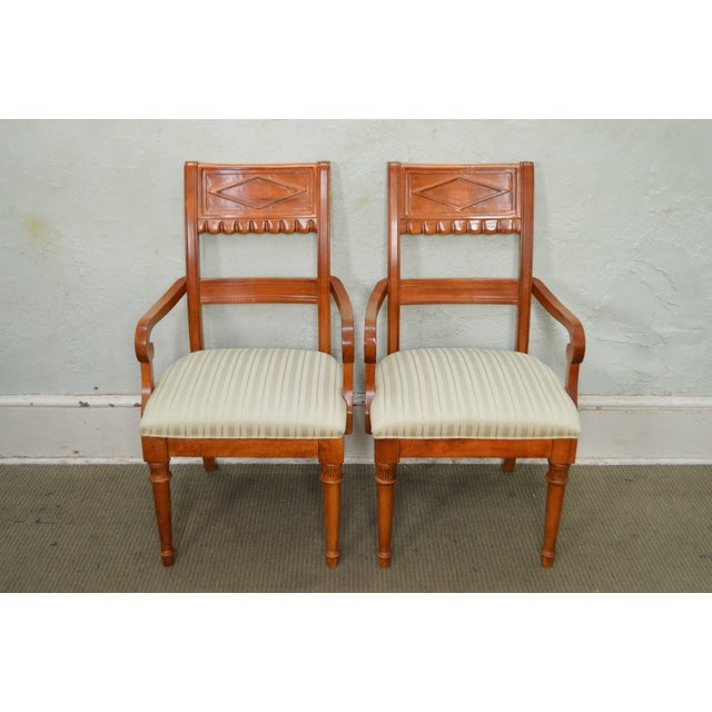 STORE ITEM #: 15439 Lexington Regency Style Set of 4 Cherry Wood Arm Chairs AGE/COUNTRY OF ORIGIN – Approx 20 years,...